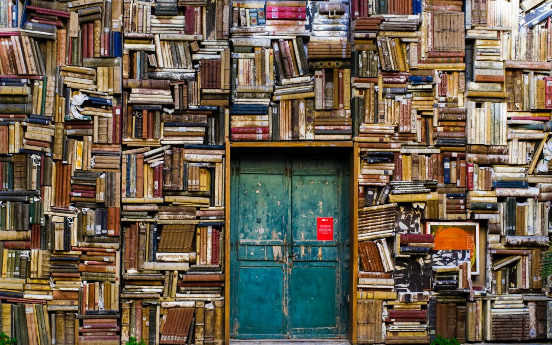 blue door surrounded by a wall of books
